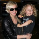 Ashlee Simpson And Son Bronx Touch Down At JFK Airport