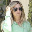 Ashley Tisdale Trots To Her Car In Green Hoodie