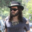 Russell Brand Heads To His Studio In LA