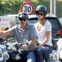 George Clooney And Stacy Keibler Go On A Motorcycle Ride