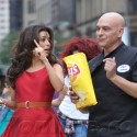 Eva Longoria And Michael Symon Shoot A Lays Commercial In NYC