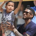 Usher Plays With His Sons In Malibu