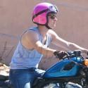Josh Hutcherson Rides Around Town In A Pink Helmet