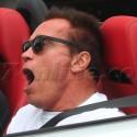 Arnold Schwarzenegger Yawns While Driving
