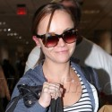 Christina Ricci Shows Off Some New Bling At The Airport