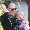 Pink Plays With Her Baby Willow At The Park