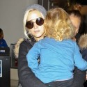 Ashlee Simpson And Bronx Arrive At LAX