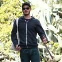 Andrew Garfield Takes His Dog For A Walk