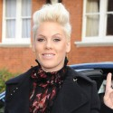 Pink Gives The Peace Sign In London