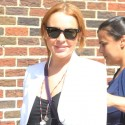 Lindsay Lohan Smiles Outside Of <em>Letterman</em>