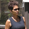 Halle Berry Shows Off Her Baby Bump In A Tight Black Dress