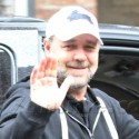 Russell Crowe Checks Out Of His Hotel In NYC