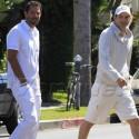 Ashton Kutcher And Pal Wear White While Leaving Kabbalah Center