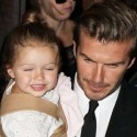 David Beckham Steps Out With His Wife And Daughter