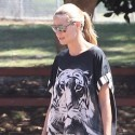 Heidi Klum Hides Belly In Oversized Tiger Shirt At Soccer Game