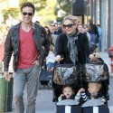 Anna Paquin And Stephen Moyer Take Twins Poppy And Charlie For A Stroll