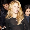 Shakira Is Smiley In See-Through Shirt At LAX