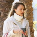 Jessica Alba Makes Her Way To Her Christmas Party