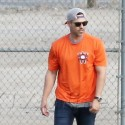 Eddie Cibrian Practices Catch With His Sons