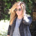 Ashley Tisdale Rocks Leather Jogging Pants For Trip To The Salon