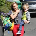 HIlary Duff Wears Dramatic Red Lip For Mommy Duty