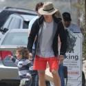 Orlando Bloom Enjoys The Beach With Son Flynn