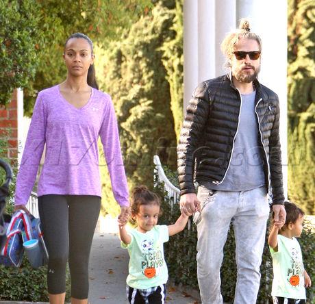 Zoe Saldana And Husband Marco Perego Go For A Walk With