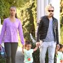 Zoe Saldana And Husband Marco Perego Go For A Walk With Their Twin Sons