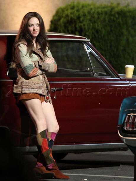 Amanda Seyfried  Peter Sarsgaard linda lovelace porn 70s smoking cigarette legs boots robe classic car leather jacket biopic filming film set