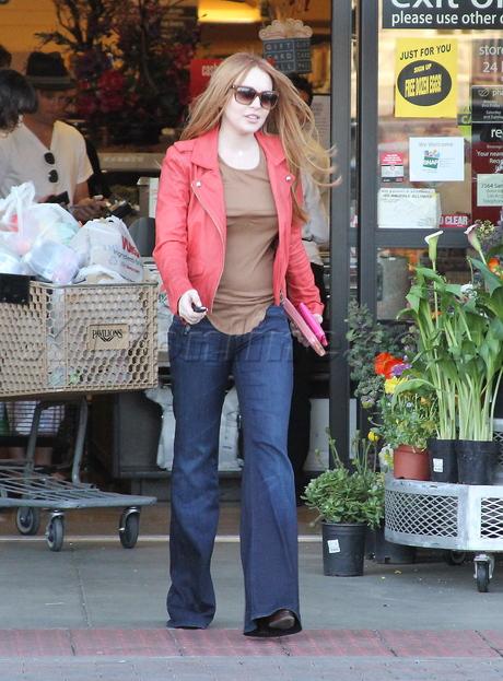 denim Ali Lohan lindsay lohan sweater boots coffee groceries leather jacket  Lindsay Lohan