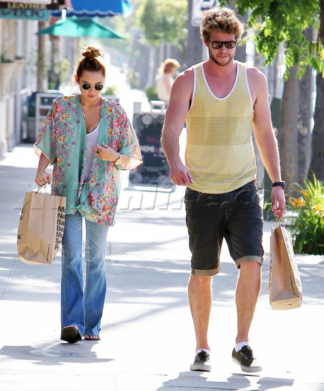 sunglasses Miley Cyrus Liam Hemsworth chinese print top jeans  American Apparel