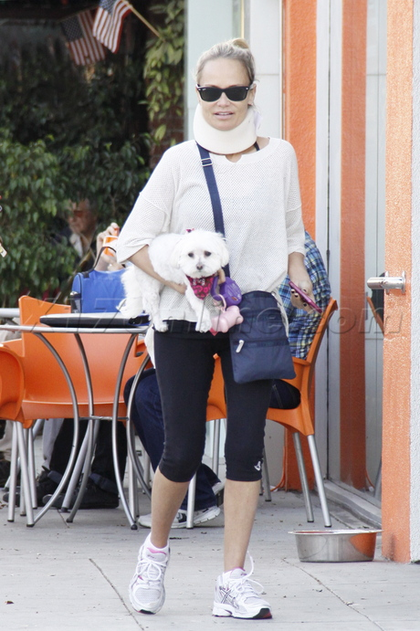 sunglasses Kristin Chenoweth injury neck brace the good wife dog spandex Yogurt Stop