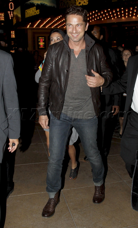 Gerard Butler chasing mavericks jacket denim the grove premiere