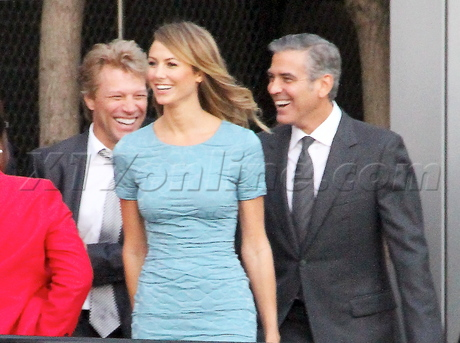 George Clooney  Stacy Keibler  obama fundraiser jon bon jovi