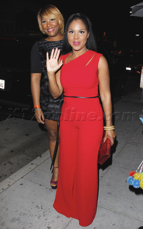 Toni Braxton mr. chow dinner red dress face lift plastic surgery