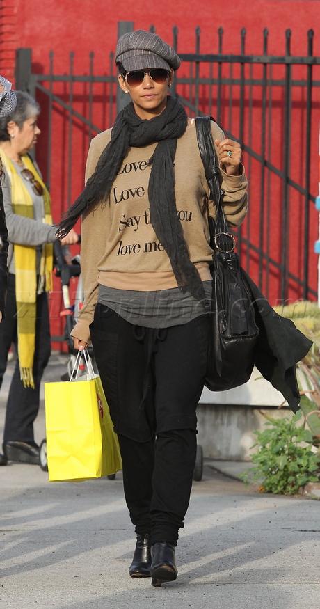 Halle Berry denim hat nahla shopping sweatshirt