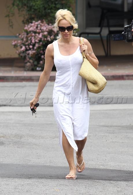 Pamela Anderson white dress Malibu sunglasses blonde
