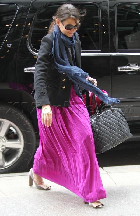 Katie Holmes  sunglasses skirt scarf blazer suri