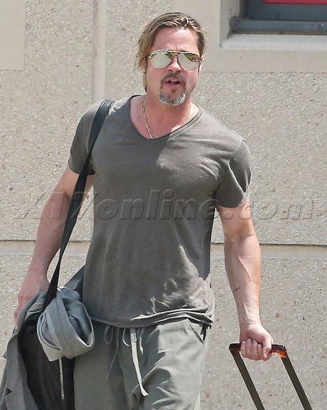 Brad Pitt luggage marriage sunglasses muscles france angelina jolie wedding