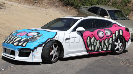 Chris Brown Karrueche Tran car grafitti