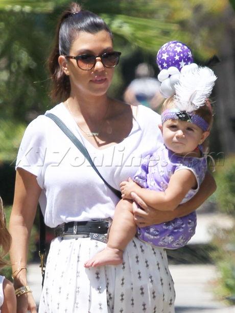 Kourtney Kardashian mason baby penelope balloon headband headband dress