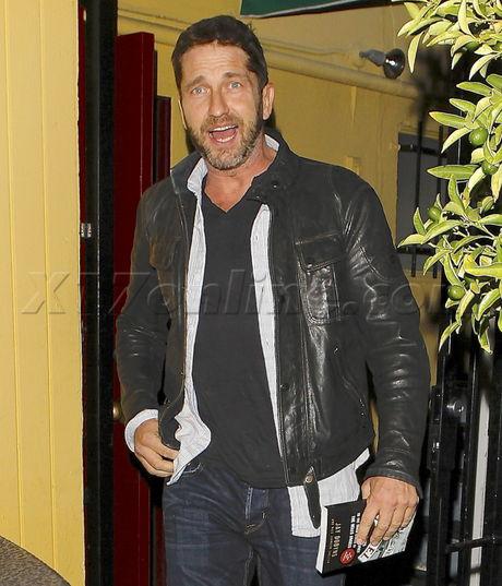 Gerard Butler leather jacket dan tana's west hollywood Santa monica blvd