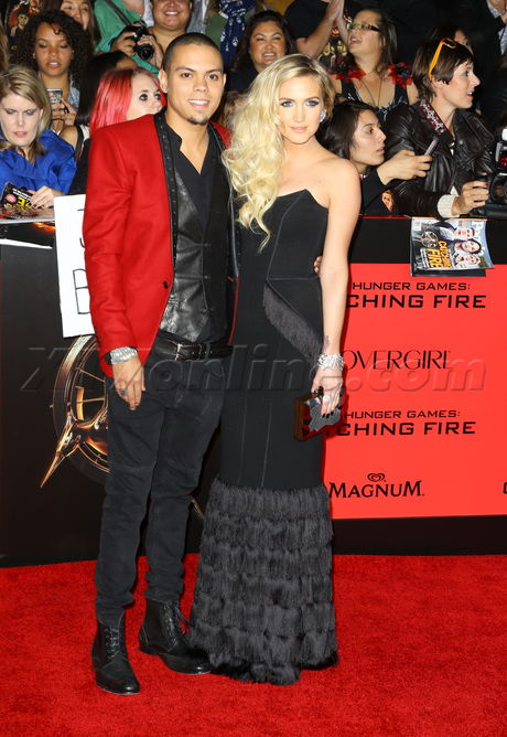 red carpet catching fire Ashlee Simpson Evan Ross
