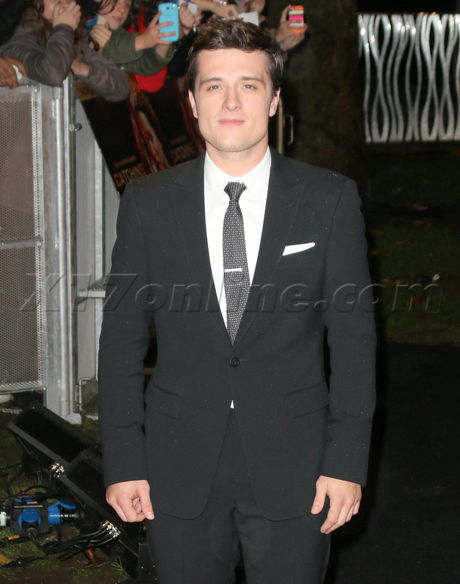 Josh Hutcherson red carpet blonde hunger games catching fire london uk dress Leicester square