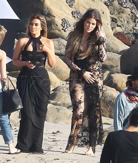 Kim Kardashian kris jenner photoshoot Kylie Jenner Kendall Jenner beach gown malibu Kylie Jenner