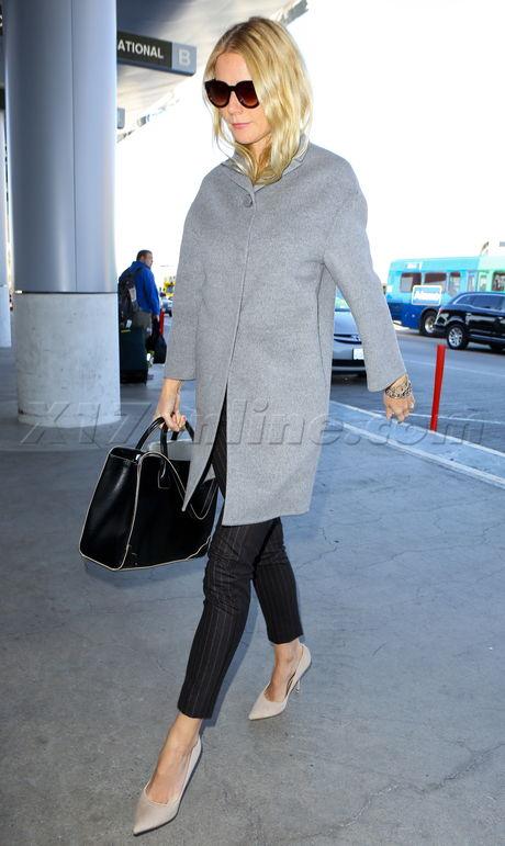 Gwyneth Paltrow vanity fair coat lax sunglasses