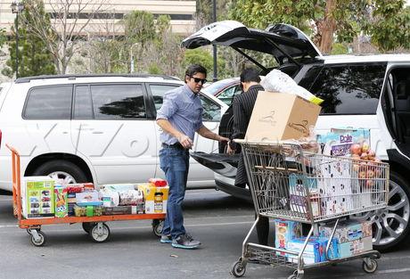 Kris Jenner groceries sunglasses stripes boots large groceries reality kardashian