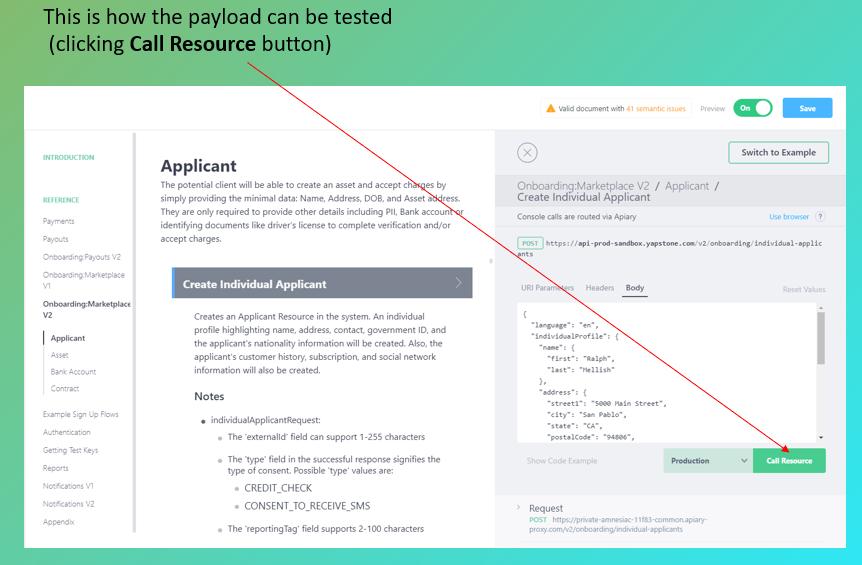 Yapstone API · Apiary