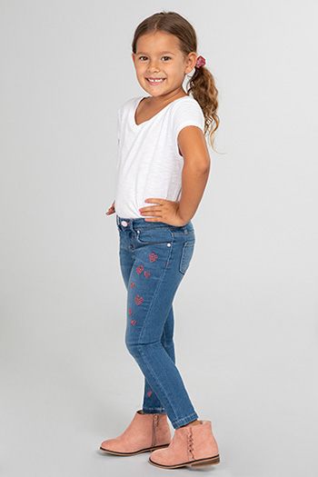Toddler Girl Love Denim Skinny Jean with Heart Embroidery