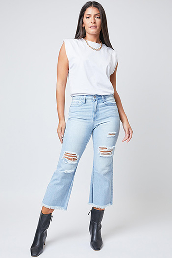 Junior Dream High-Rise Wide-Leg Cropped Jean With Fray Hem